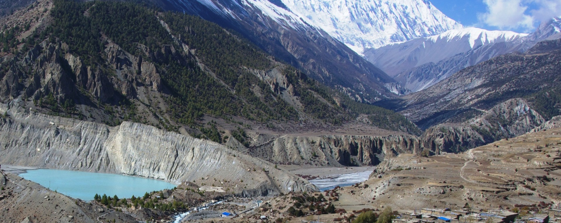 The view of Manang village, Annapurna circuit trek