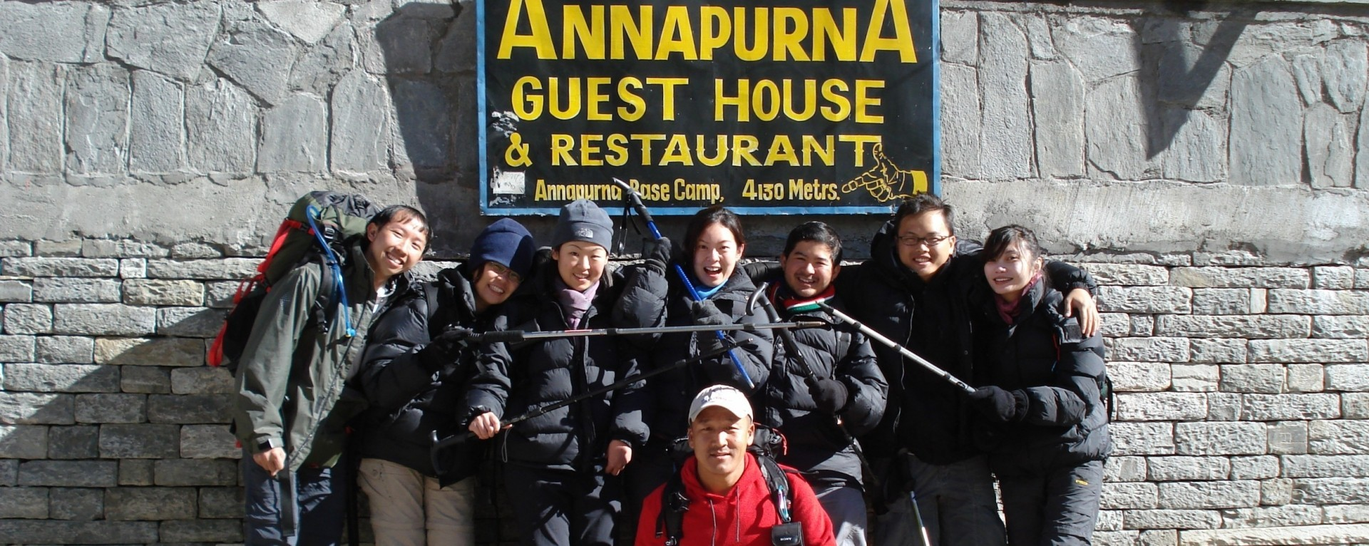 Happy Trekkers after reaching the Annapurna Base Camp.
