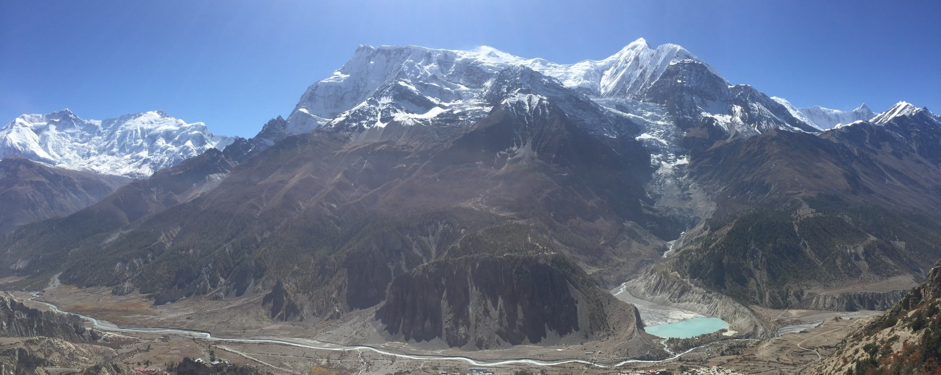 View of Mount  Annapurna 2,3 and Gangaprna and Gangapurna Glacier