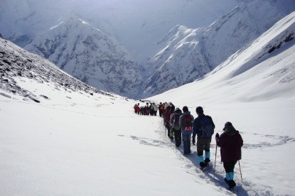 Descending towards MBC after the Annapurna Base camp visit.