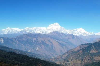Dhaulagiri mountain ranges and Tukuche peak seen from Ghorepani hill.