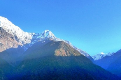 The view of Annapurna south, Hiunchuli, annapurna III and Fishtail mountains.