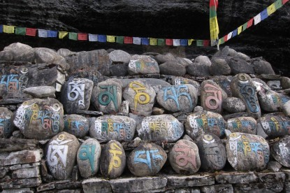 Colorful Mane stones on the trails of Annapurna circuit trek.