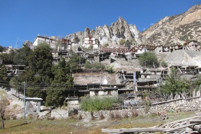 Ancient village of Braga on the route of Annapurna circuit.