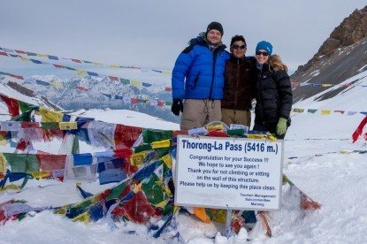 Our Clients from UK with Sonam sherpa at Thorong La  Pass(5416m)