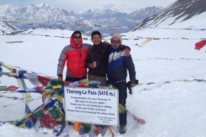 Our Sherpa teams at the Thorong La pass...
