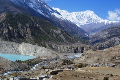 Manang village and Gangapurna glacier lake view.