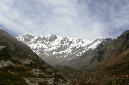 The view of Mt. Annapurna II and Annapurna IV from Yak Kharka.