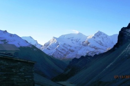 The view of Annapurna III, IV and Gangapurna mountains.