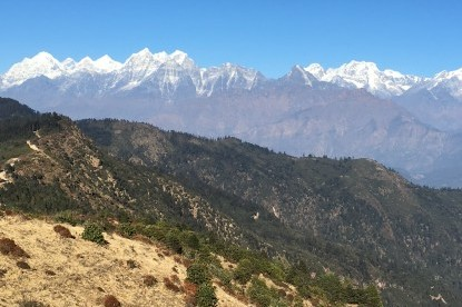 The panoramic view of mountains of Khumbu Valley seen from Ratnange view point.