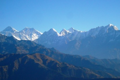 Mt. Everest, Lhotse, Thamserku and Kangtega view.
