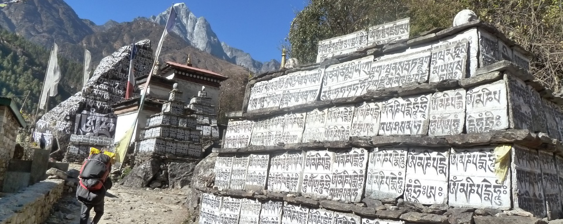 Buddhist stupas and mane walls on Everest base camp trail