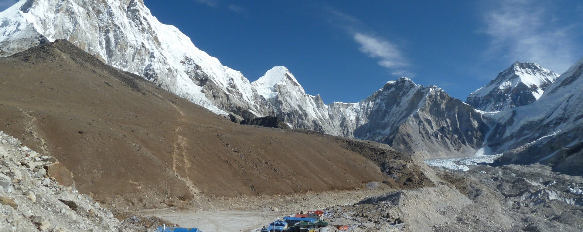 The view of Kalapatthar, Pumori and Everests Base camp from near Gorakshep