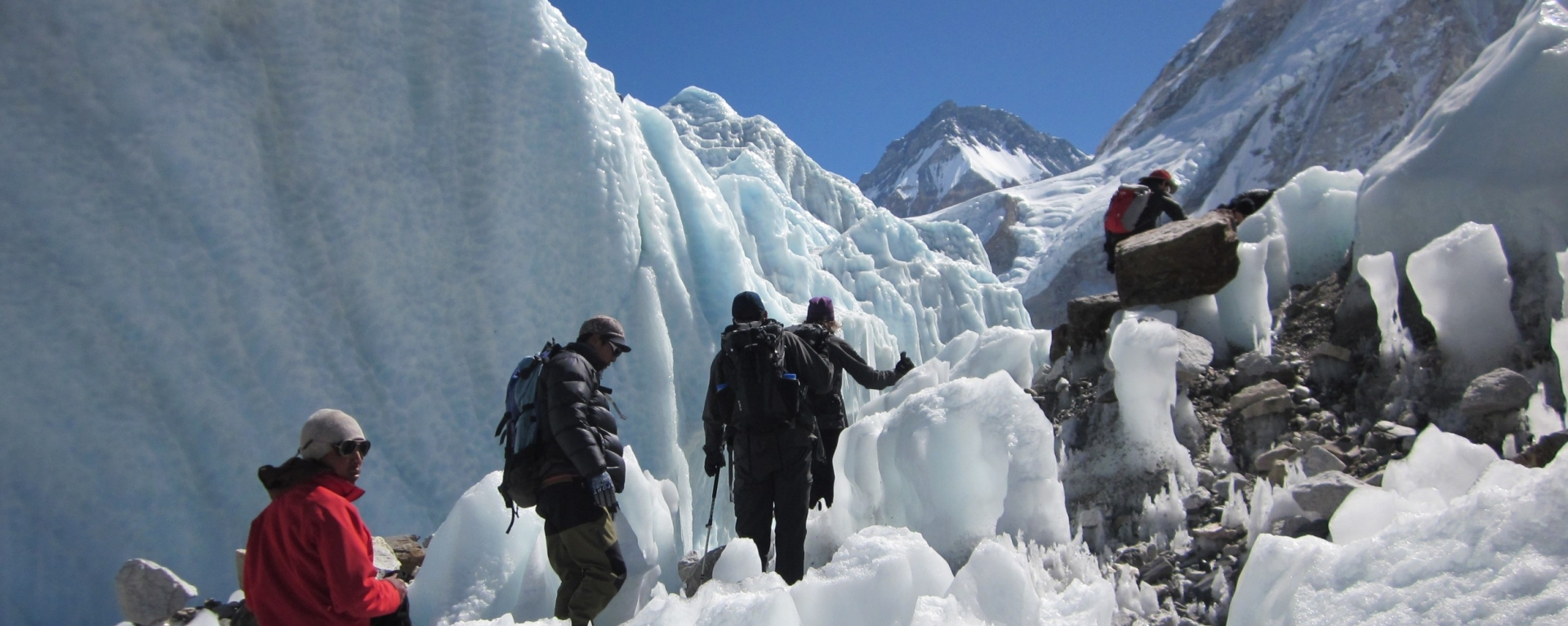 Sherpa's walking through the Khumbu icefalls on their way to Mt. Everest.