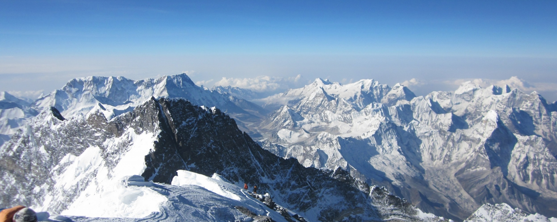 The view of Lhotse and Khumbu mountains from the summit of Mt. Everest(8848)
