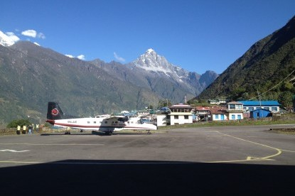Airstrip of Lukla with Kongde peak in the background.
