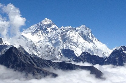 The view of Mt. Everest and lhotse from Renjo pass