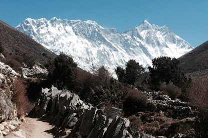 Everest, Lhotse and Nuptse ridges seen from pangboche.
