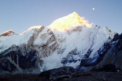 Sunset view over Nuptse mountain.