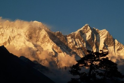 Sunset view over Mt. Everest and Lhotse.
