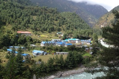 Lodges of Phakding village on the bank of Dudhkoshi river where we stay first night after Lukla.