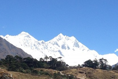 View of Mt. Everest and Lhotse from Syangboche