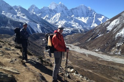 Our Dutch clients on the way to Lobuche for Everest base camp trek, Nepal
