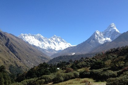 Panoramic view of Mt. Everest from Tengboche