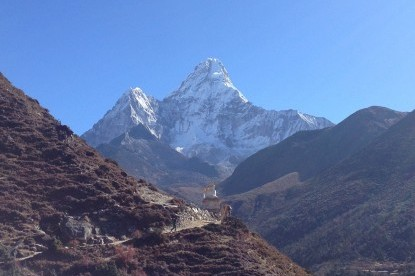Mt. Amadablam (6856m) view near Pangboche village on the way to Everest base camp.