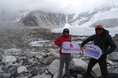 Nepal is safe to visit after the earth quake, our clients at Everest Base camp
