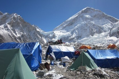 The logistics at the Base Camp of Everest