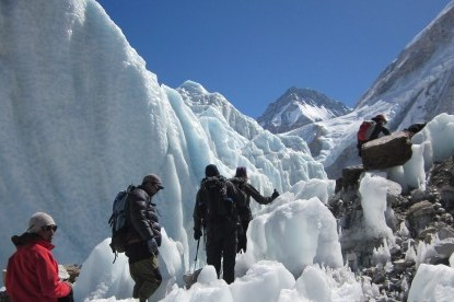 crossing the most dangerous Khumbu icefall