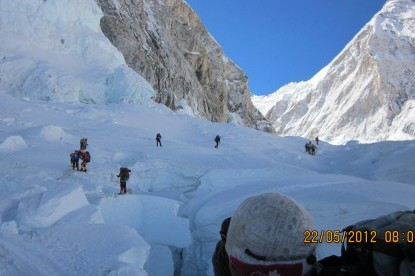 Khumbu icefall crossing