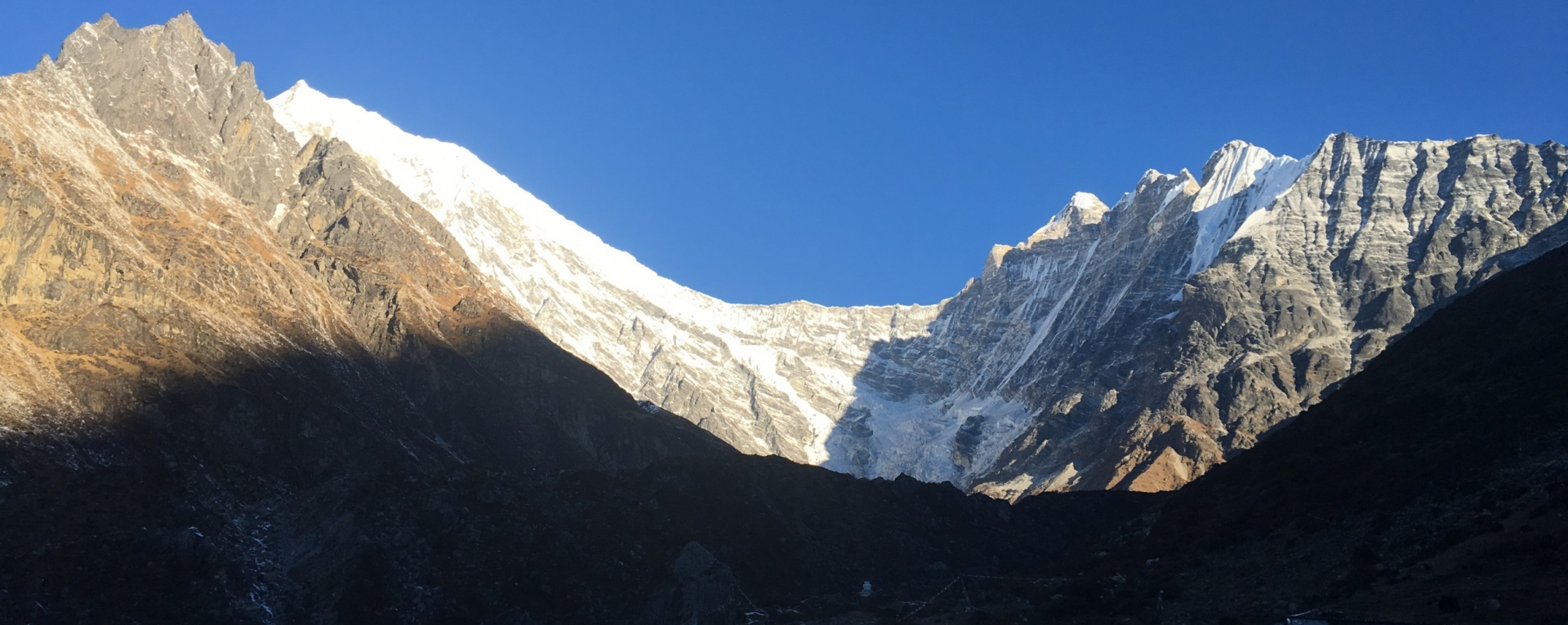 The view of Langtang lirung mountains above kyangjin village.