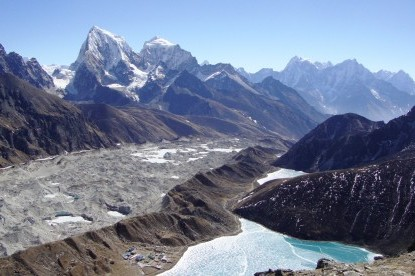 The lakes of Gokyo and mountain views from top of Gokyo Ri.