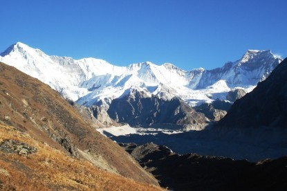 Mt. Chooyu and Gyachungkang in Gokyo valley.