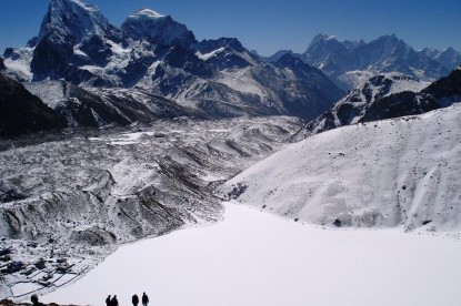 Gokyo valley covered by the fresh snow.
