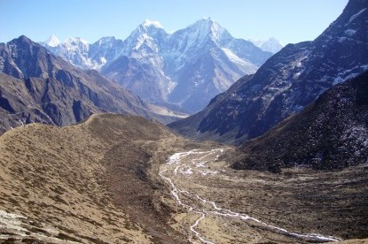 Looking down to Khumbu valley.