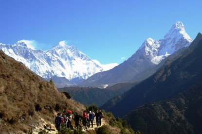 The Everest, Lhotse and Amadablam mountain view near Namche bazaar.