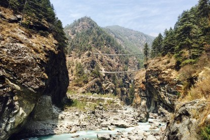 Two high bridges hanging over Dudhkoshi River.