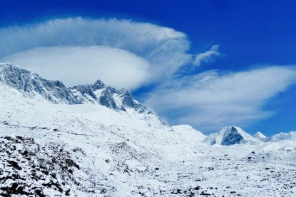 The view of Nuptse and Lhotse walls with Island peak.