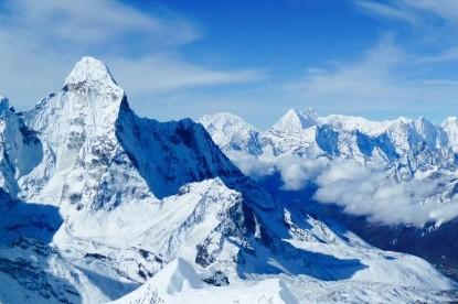 Northern ridges of Amadablam and other mountains of Khumbu valley view from island peak.