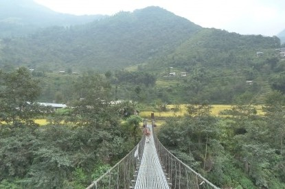 Crossing the suspension bridges on the way.