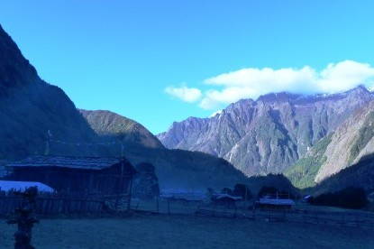 Morning view of Ghunsa Village at the altitude of 3595m.