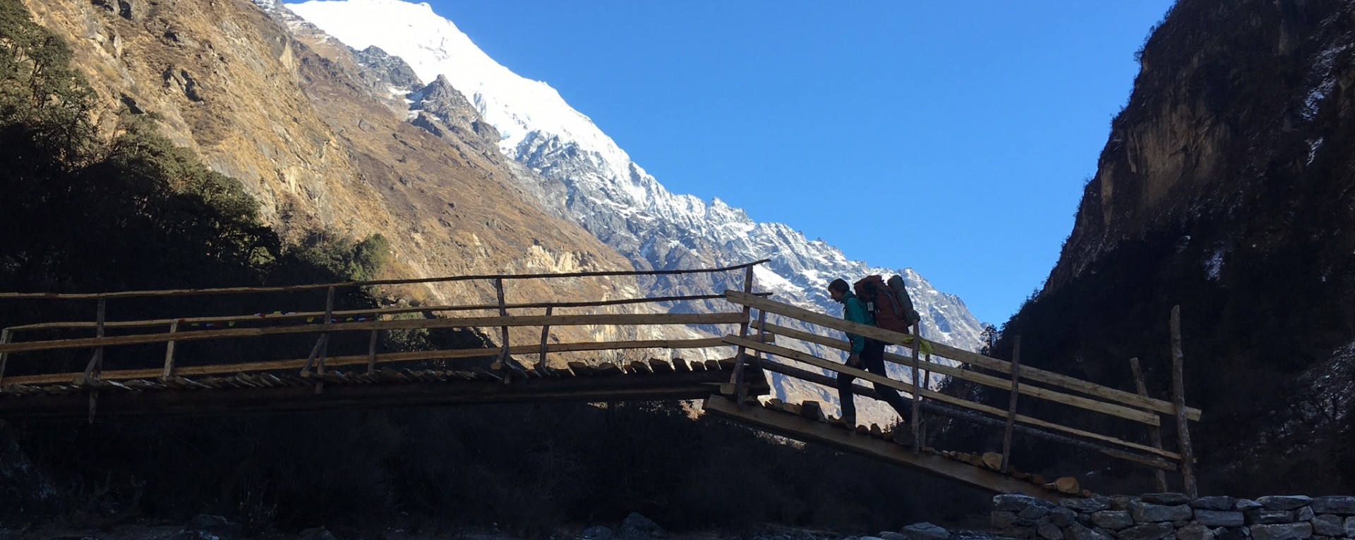 Crossing the wooden bridge over Langtang khola, Langtang , Nepal
