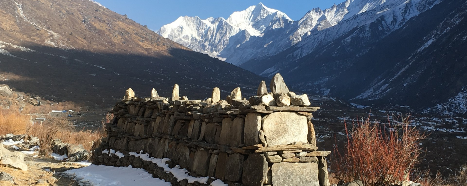 Mane walls of Langtang valley, Nepal