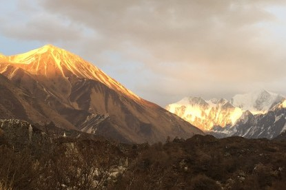 Sunset view over Tserko ri and Mt. Gangchhenpo .