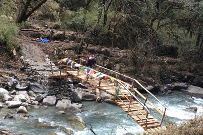 New wooden bridge over Langtang khola constructedbefore Ghoda tabela.
