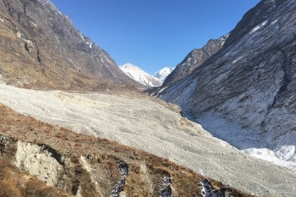 The Langtang village is turned into moraine by the avalanche hit on 25 April 2015..