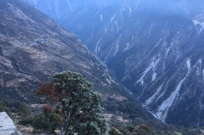 Sherpagaun and landslides on lower route seen from high route.